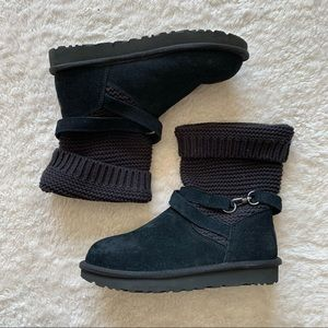 UGG purl suede knit strap detail boots